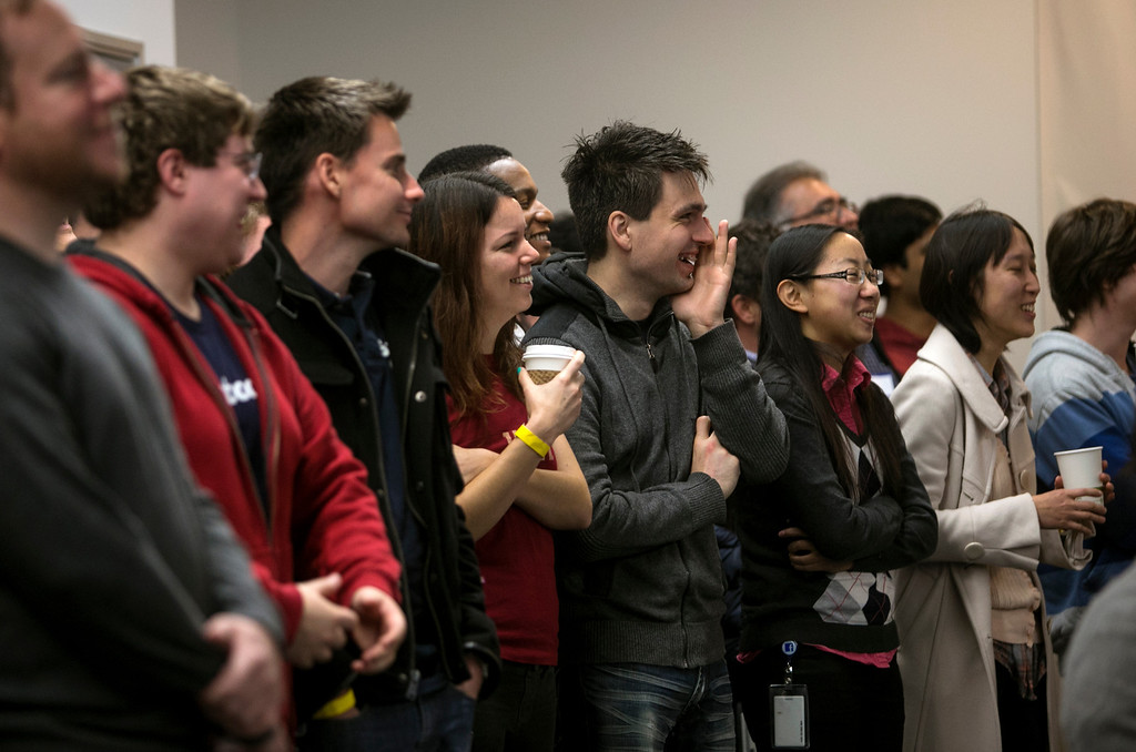 . Facebook employees watch as Mark Zuckerberg announce Graph Search during a press conference at Facebook in Menlo Park, Calif., on Tuesday, Jan. 15, 2013.