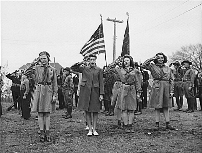 . Ashland, Aroostook County, Maine. Singing the national anthem at the Memorial Day ceremonies, 1943. John Collier, Photographer.  Courtesy the Library of Congress