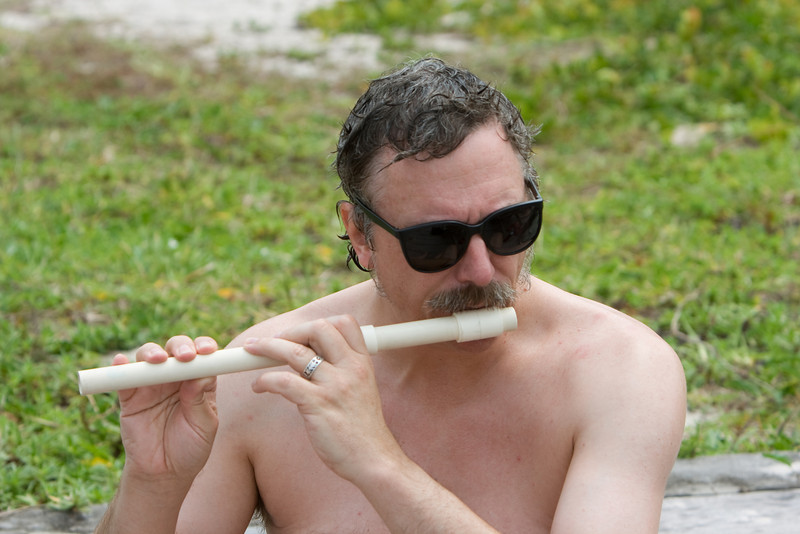 Bill playing his PVC flute.