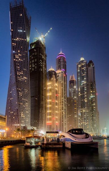 Evening view of Dubai's Marina district.