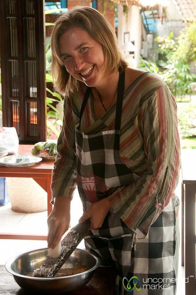 Grating Coconut for Balinese Food - Ubud, Bali