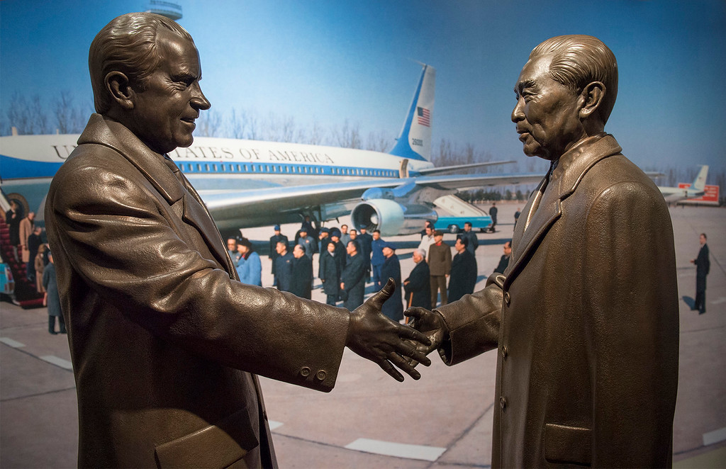 . Bronze statues of President Richard Nixon and Chinese Premier Zhou Enlai shaking hands is displayed as part of the Richard Nixon Centennial Exhibit that opened Friday at the Richard Nixon Presidential Library in Yorba Linda.  Items in the exhibit are pictured Feb. 13, 2013.   (SGVN/Staff photo by Leo Jarzomb)