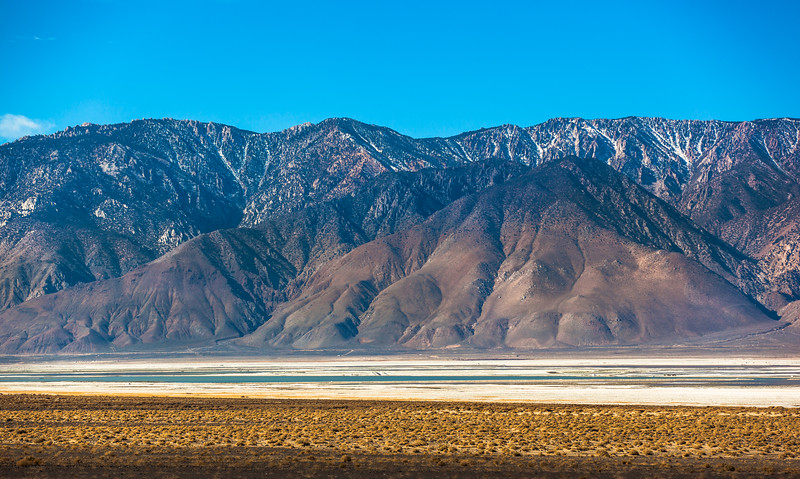 Eastern Sierra Nevada Mountains seen from across Owens Lake, California