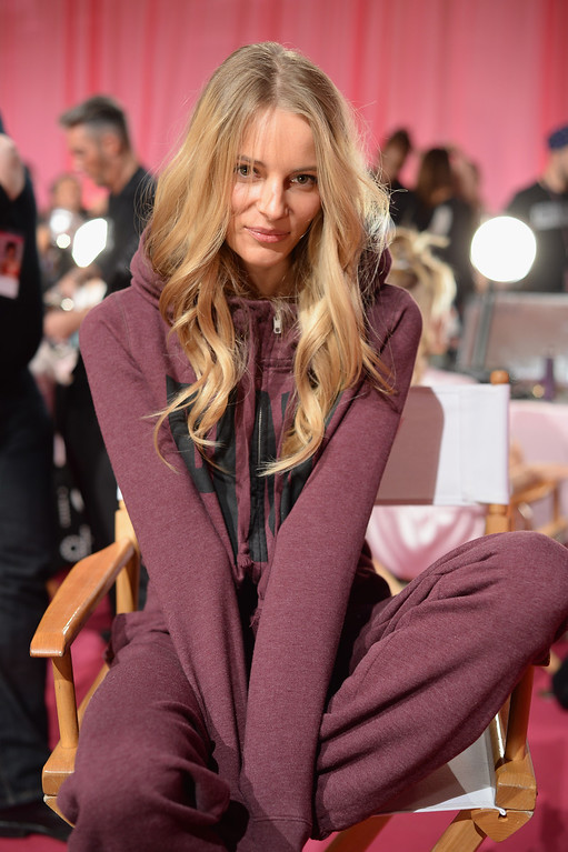 . Model Ieva Laguna prepares at the 2013 Victoria\'s Secret Fashion Show hair and make-up room at Lexington Avenue Armory on November 13, 2013 in New York City.  (Photo by Dimitrios Kambouris/Getty Images for Victoria\'s Secret)