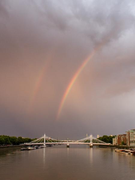 Double rainbow over #Battersea Riverside