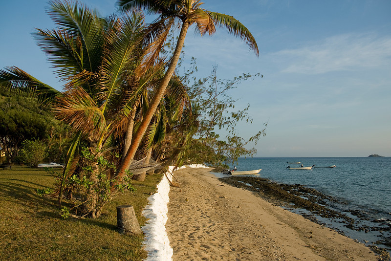 View of the beach during sunset in Yasawa Islands, Fiji