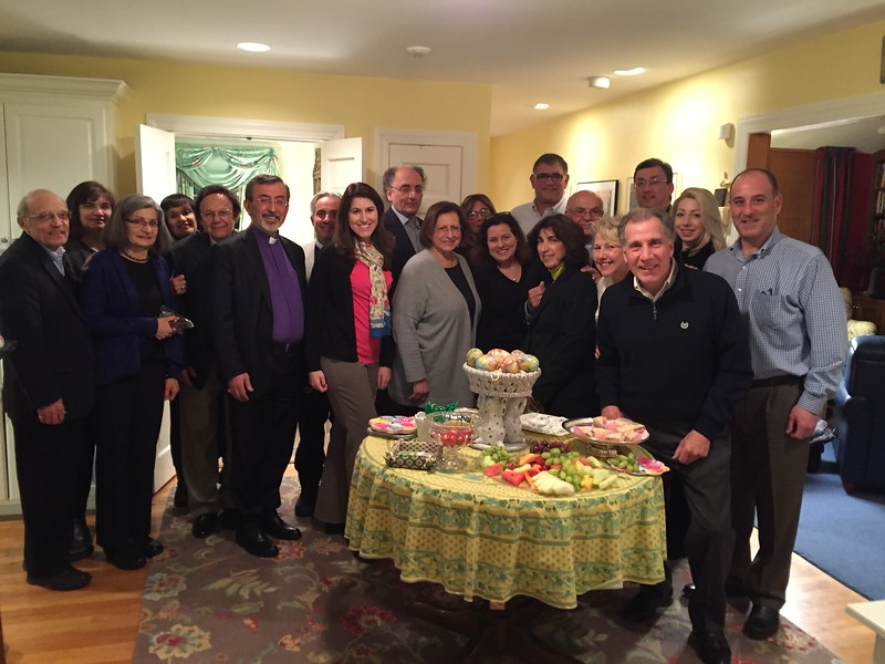 The Primate enjoying dinner and conversation with Fr. Vasken and Yn. Arpi Kouzouian, Parish Council members and Diocesan Delegates on Friday evening, March 17.
