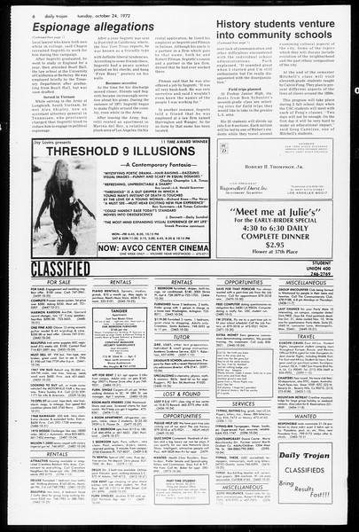 Daily Trojan, Vol. 65, No. 24, October 24, 1972
