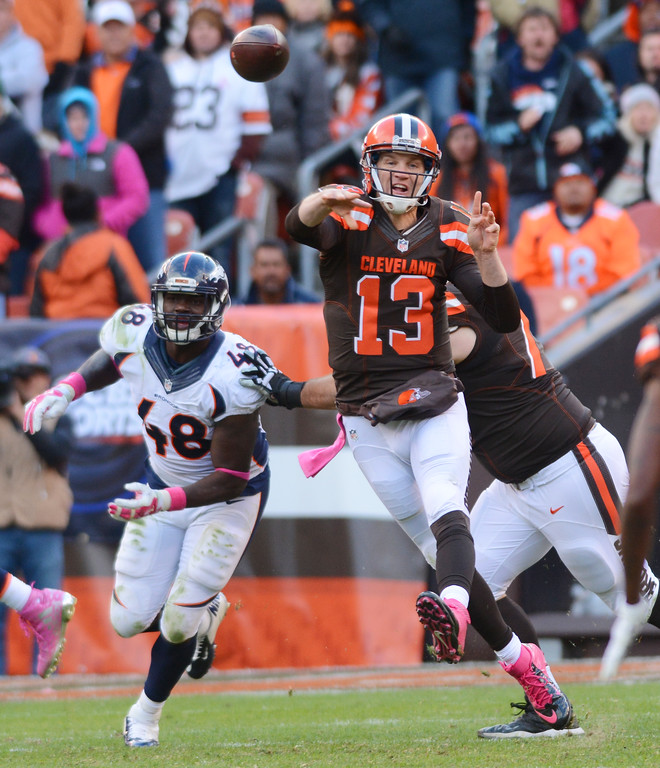 . News-Herald file Cleveland Browns quarterback Josh McCown throws a pass againt the Denver Broncos in the fourth quarter. The Broncos beat the Browns 26-23 in overtime Oct. 18 at FirstEnergy Stadium in Cleveland.