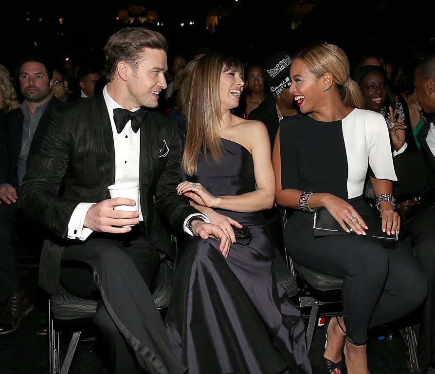 . LOS ANGELES, CA - FEBRUARY 10:  Justin Timberlake, Jessica Biel and Beyoncé Knowles attend the 55th Annual GRAMMY Awards at STAPLES Center on February 10, 2013 in Los Angeles, California.  (Photo by Christopher Polk/Getty Images for NARAS)