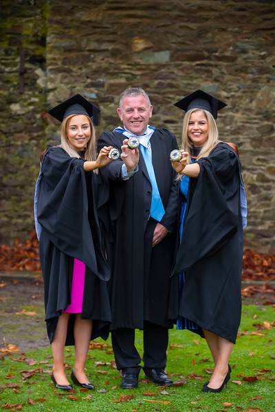 31/10/2019. Waterford Institute of Technology (WIT) Conferring Ceremonies. Pictured are William Harrington with his daughters Katie and Megan from Kilmeaden. Picture: Patrick Browne