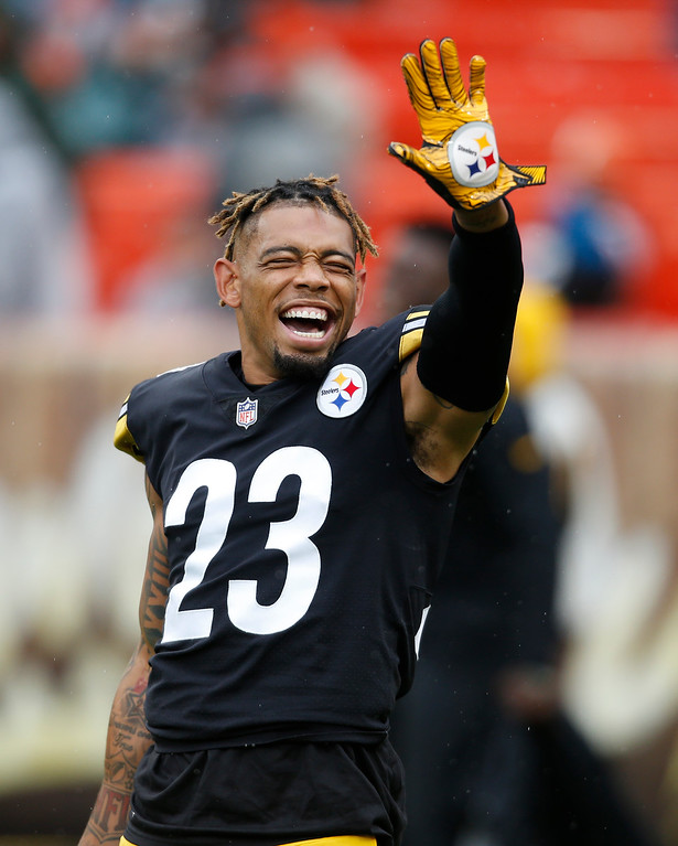 . Pittsburgh Steelers defensive back Joe Haden smiles during warm ups before an NFL football game between the Cleveland Browns and the Pittsburgh Steelers, Sunday, Sept. 9, 2018, in Cleveland. (AP Photo/Ron Schwane)