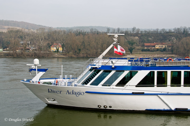 Our river cruise boat, docked in Linz, Austria