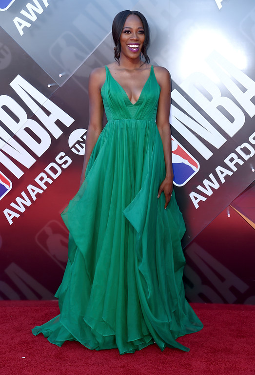 . Yvonne Orji arrives at the NBA Awards on Monday, June 25, 2018, at the Barker Hangar in Santa Monica, Calif. (Photo by Richard Shotwell/Invision/AP)
