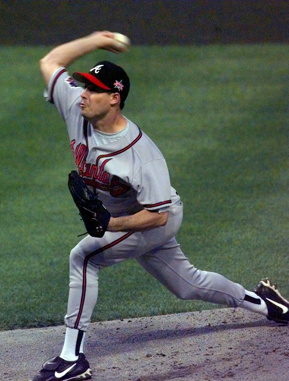. Atlanta Braves starter Greg Maddux fires toward the plate during the first inning of the 68th All-Star Game Tuesday July 8, 1997 in Cleveland. (AP Photo/Ed Reinke)