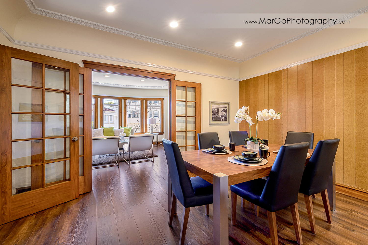 San Francisco house dining room with living room in background - real estate photography