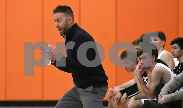 1/10/2018 Mike Orazzi | Staff Terryville High School's Mark Fowler during Wednesday night's boys basketball game with Achievement First At Terryville High School.