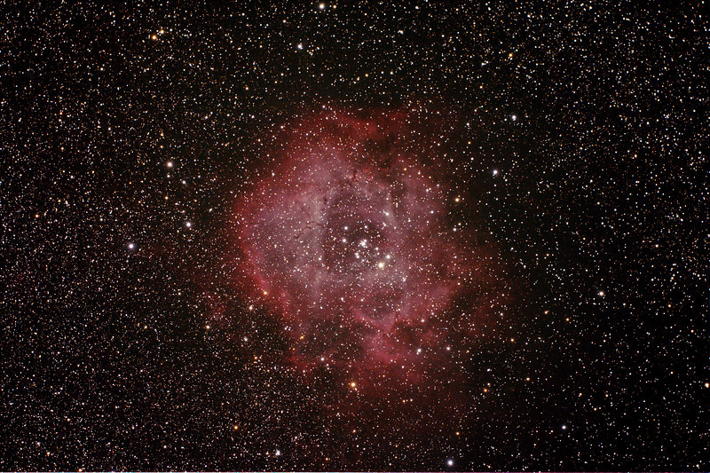 Caldwell 49 & 50 - NGC2237-9,NGC2244, 2246 - Rosette Nebula and Open Cluster in Monoceros - 30/11/2013 (Processed stack)