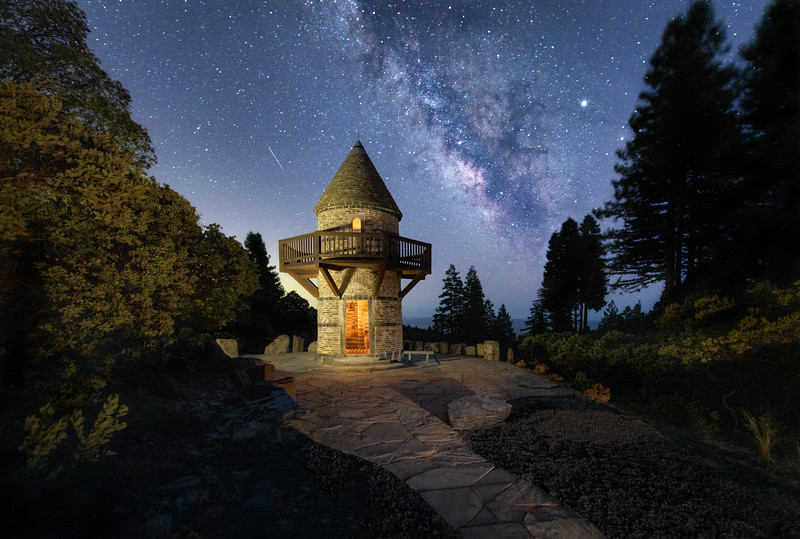 Watchtower, Shooting Star & Milky Way, Gualala, CA