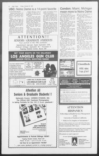 Daily Trojan, Vol. 116, No. 39, October 25, 1991