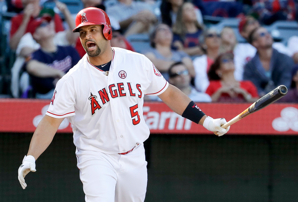 . Los Angeles Angels\' Albert Pujols reacts after flying out against the Cleveland Indians during the eighth inning of a baseball game in Anaheim, Calif., Thursday, Sept. 21, 2017. (AP Photo/Chris Carlson)