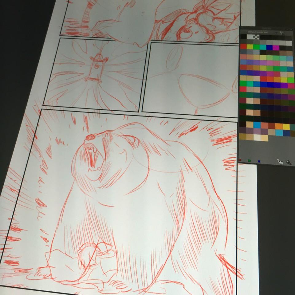 Working on Nightlight panel with bear