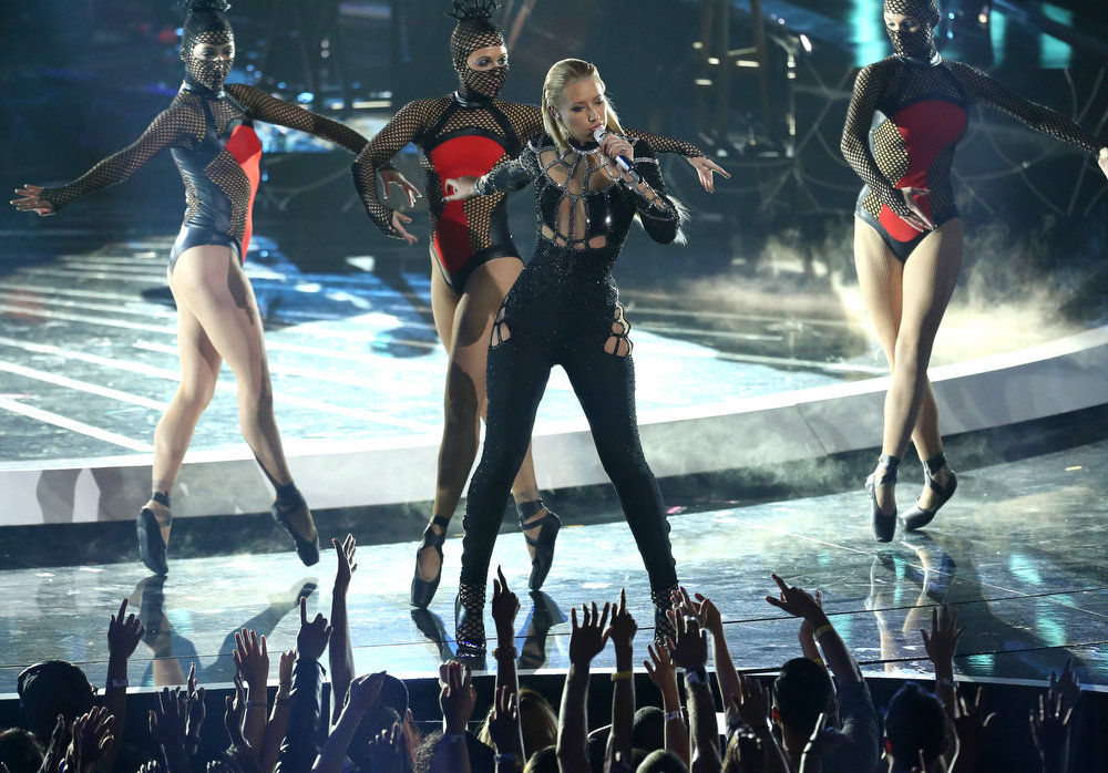 . Iggy Azalea performs at the MTV Video Music Awards at The Forum on Sunday, Aug. 24, 2014, in Inglewood, Calif. (Photo by Matt Sayles/Invision/AP)