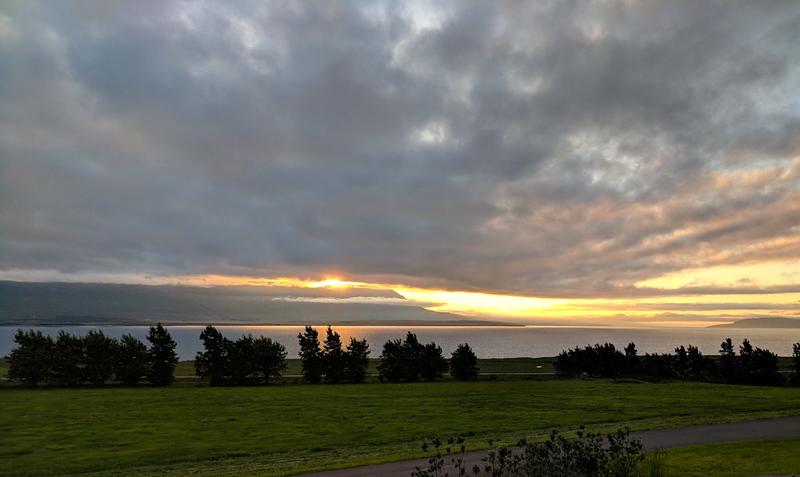 View from our hotel, Countryhotel Sveinbjarnargerdi.