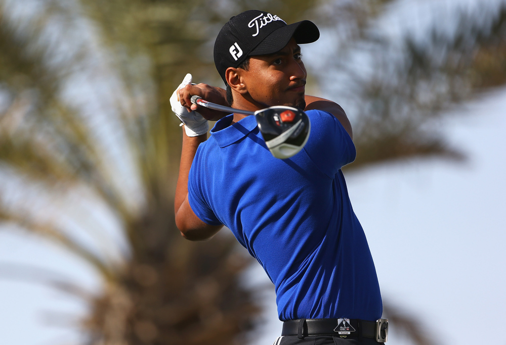 Description of . Sohail Al Marzuqui of the UAE tees off on the 2nd hole during day one of the Abu Dhabi HSBC Golf Championship at Abu Dhabi Golf Club on January 17, 2013 in Abu Dhabi, United Arab Emirates.  (Photo by Matthew Lewis/Getty Images)