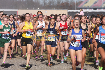 Girl's D1 at 800M, Mid-Race and  Finish - 2011 MHSAA LP XC Finals