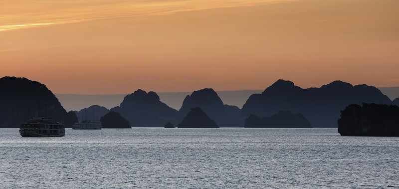 Early sunrise in Haiphong Bay from the Orchid Cruise deck.