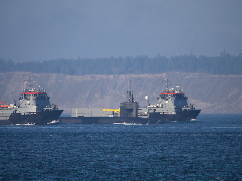Submarine sandwich. When the nuclear submarines pass through Puget Sound they are protected by these two ships.