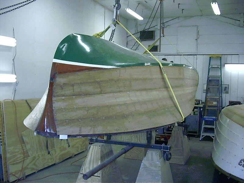 Front starboard view of boat picked up ready to start sanding.