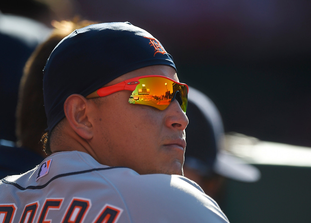 . Detroit Tigers\' Miguel Cabrera watches from the dugout during the second inning of a baseball game against the Los Angeles Angels, Sunday, May 31, 2015, in Anaheim, Calif. (AP Photo/Mark J. Terrill)