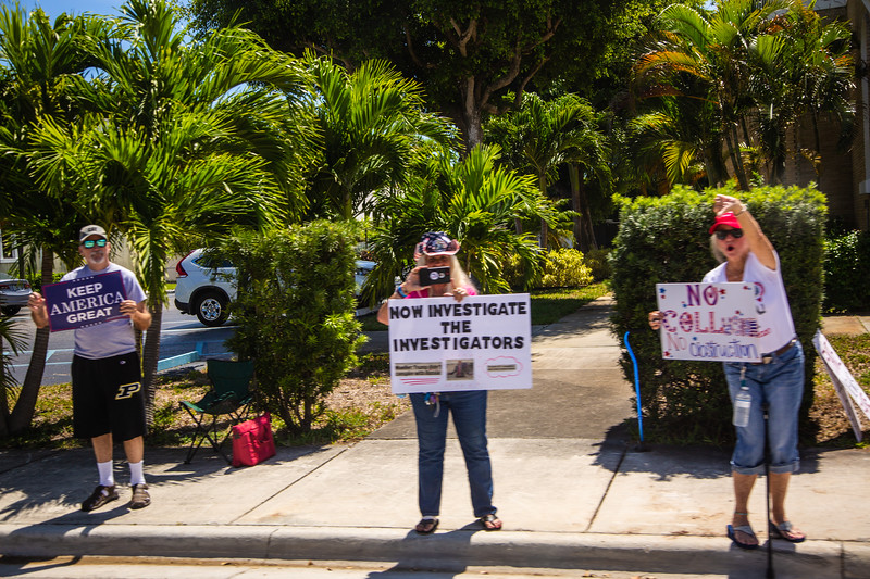 Supporters along Southern Boulevard greet President Donald J. Trump as his motorcade passes by on the way toward Palm Beach International Airport on Sunday, March 31, 2019. [JOSEPH FORZANO/palmbeachpost.com]