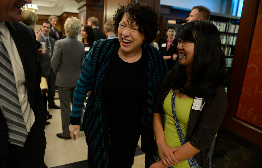 . DENVER, CO-May 02, 2013: Supreme Court Justice Sonia Sotomayor visited with Kaitlyn Dickinson, a student from Angevine Middle School in Lafayette, during a celebration to dedicate the new Ralph L. Carr Colorado Judicial Center in Denver, May 02, 2013. Sotomayor meet and answered question from Colorado students during the event. (Photo By RJ Sangosti/The Denver Post)