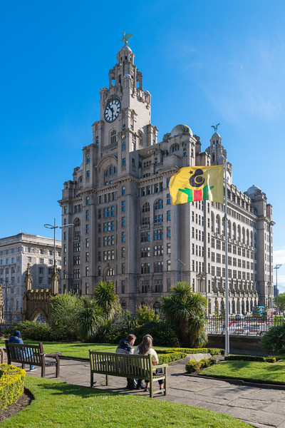 Royal Liver Building, viewed from St Nicholas Church Gardens, Liverpool