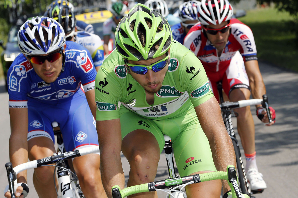 . Green jersey of best sprinter Slovakia\'s Peter Sagan rides in the breakaway during the 242.5 km fifteenth stage of the 100th edition of the Tour de France cycling race on July 14, 2013 between Givors and Mont Ventoux, southeastern France.     JOEL SAGET/AFP/Getty Images