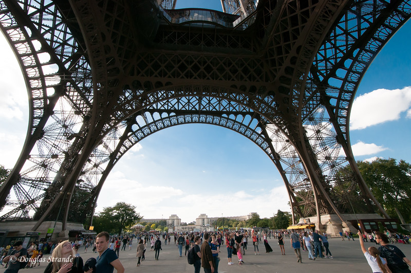 Under the base of the Eiffel Tower