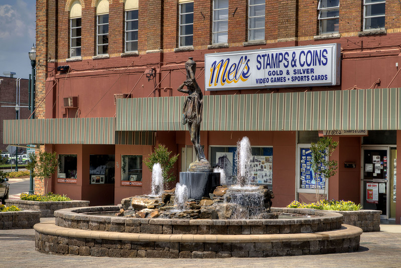 A beautiful water fountain sculpture in Downtown Johnson City, TN on Saturday, May 31, 2014. Copyright 2014 Jason Barnette