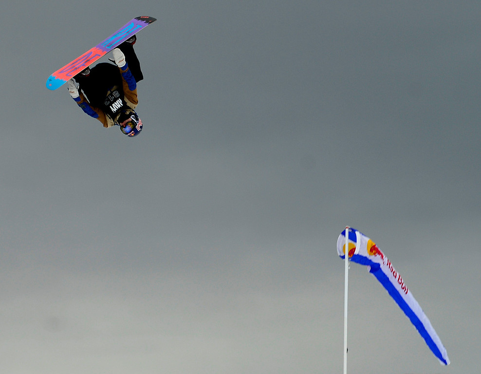 . ASPEN, CO. - JANUARY 24: Sebastien Toutant rides during the men\'s Snowboard Slopestyle elimination. Men\'s Snowboard Slopestyle elimination X Games Aspen Buttermilk Mountain Aspen January 24, 2013. (Photo By AAron Ontiveroz / The Denver Post)