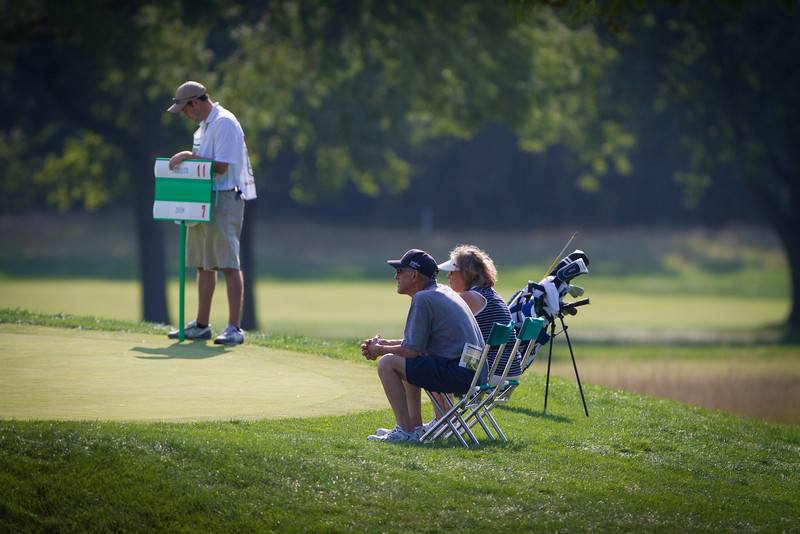 Spectators watch play during second round medal play at the 2012 Western Amateur Championship at Exmoor Country Club in Highland Park IL. on Thursday, August 2, 2012. (WGA Photo/Charles Cherney)