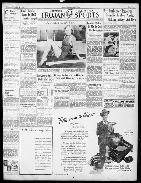 Daily Trojan, Vol. 26, No. 43, November 22, 1934