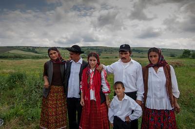 Europe, Romania, Transylvania, Gypsy wedding,  wedding party at groom's home before leaving to bride's village