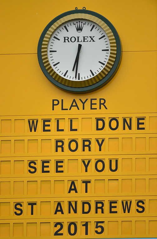. View of the leaderboard on the 18th green after the final round of The 143rd Open Championship at Royal Liverpool on July 20, 2014 in Hoylake, England.  (Photo by Stuart Franklin/Getty Images)