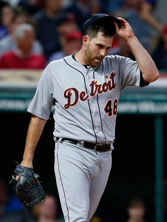 . Detroit Tigers starting pitcher Matthew Boyd reacts after giving up a single to Cleveland Indians\' Brandon Guyer to load the bases during the second inning in a baseball game, Tuesday, Sept. 12, 2017, in Cleveland. The Indians won 2-0. (AP Photo/Ron Schwane)