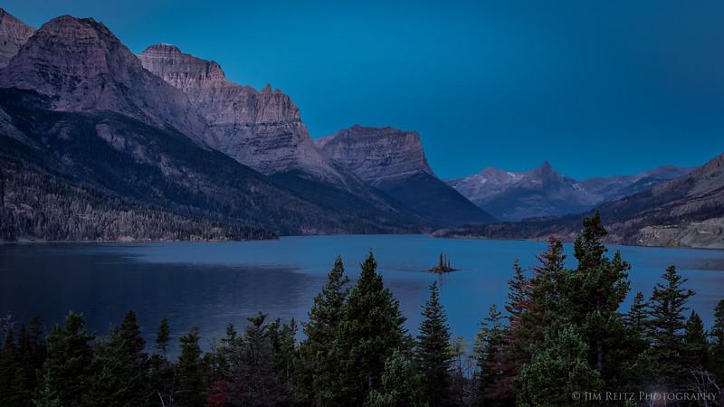Pre-dawn twilight - St. Mary Lake, Glacier National Park