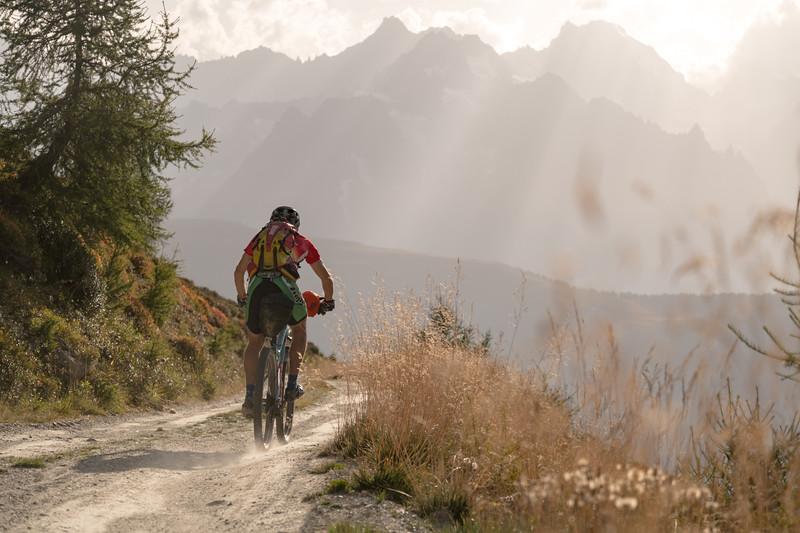 Ben Bardsley below the Col de Mille on the Tour des Combins, Switzerland.