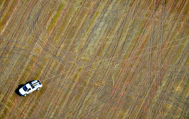 . A pickup truck parked in a farm field. (Pioneer Press: Ben Garvin)