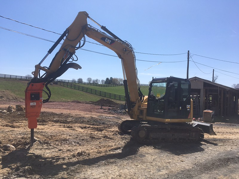 NPK PH4 hydraulic hammer with G015 autolube on Cat 308E - West Haven Farms, WV - Apr 2018 (3).JPG